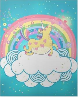 Poster Licorne dans les nuages