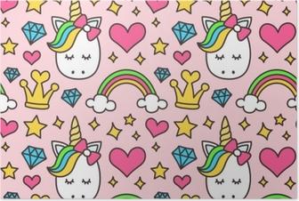 Poster Licorne mignonne, concept de princesse, modèle sans couture de beauté fille isolé sur fond rose. conception de dessin vectoriel. magie, conte de fées, coeur, arc-en-ciel, couronne, étoiles, diamant