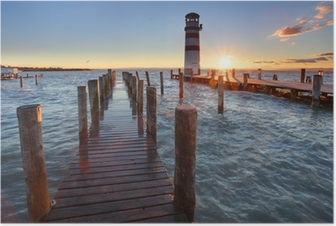 Lighthouse at Lake Neusiedl at sunset Poster