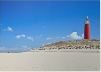 Lighthouse in the dunes at the beach Poster