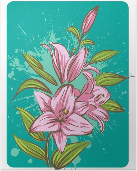Lily flower on a grunge background Poster - Flowers