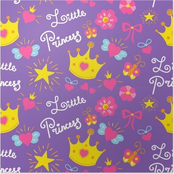 Little princess pattern vector cute girl background for template little princess pattern vector cute girl background for template birthday card baby shower invitation girls wallpaper and fabric kids print with stars stopboris Choice Image