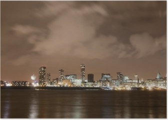 Liverpool Firework Panorama on New Year's Eve Poster