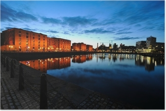 Poster Liverpool silhuett på natten