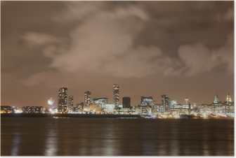 Poster Liverpool Vuurwerk Panorama op New Year's Eve