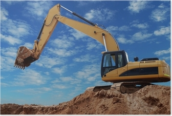 Loader excavator with raised boom Poster
