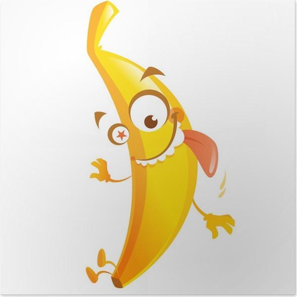 Póster Loco de dibujos animados de color amarillo plátano carácter ...