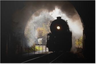 Poster Locomotive à vapeur pénètre tunnel