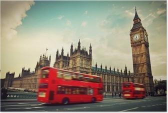 Poster Londen, het UK. Rode bus in beweging en de Big Ben