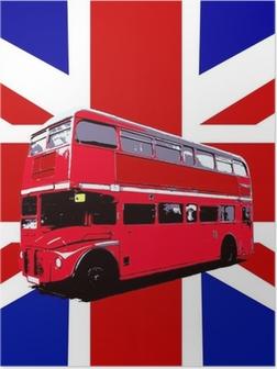 Poster London Bus Avec Drapeau BRITANNIQUE