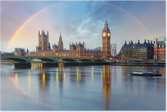 London with rainbow - Houses of parliament - Big ben. Poster