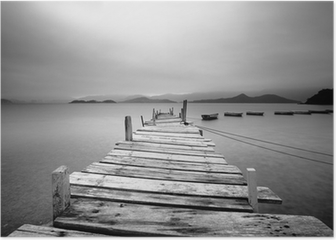 Looking over a pier and boats, black and white Poster