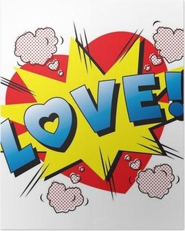 Poster Love Explosion de bande dessinée. Tomber en amour. Amour feu d'artifice.