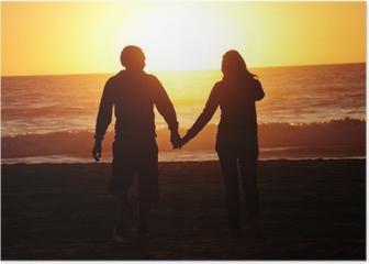 loving couple beach sunset Poster