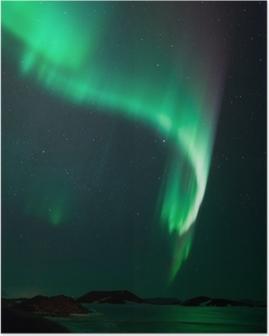 Póster Luces norteñas sobre el lago congelado Myvatn en Islandia