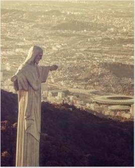 Poster Luchtfoto van Christus Standbeeld kijken naar Maracana Stadion