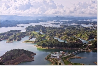 Poster Luchtfoto van Guatape Lake, Colombia