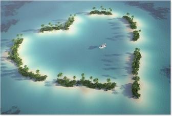 Poster Luchtfoto van hartvormige eiland