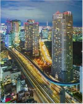 Poster Luchtfoto van Tokyo wolkenkrabbers, Minato, Japan