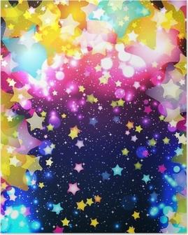 Poster Lumineuses étoiles volantes colorées sur un fond fantastique conception.