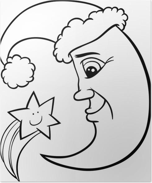 Póster Luna y estrella de la Navidad para colorear página • Pixers ...