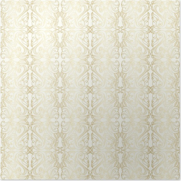 Luxury White Seamless Wallpaper With Gold Floral Pattern Poster