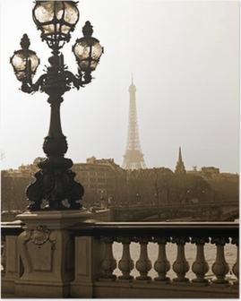 Poster Lyktstolpe på bryggan på Alexandre III i Paris, Frankrike