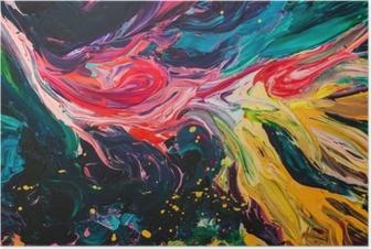 Poster Macro close-up van verschillende kleuren olieverf. kleurrijk acryl. moderne kunst concept.