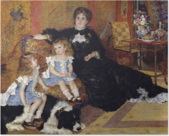 Madame Georges Charpentier and Her Children, Georgette-Berthe and Paul-Émile-Charles Poster - Impressionism
