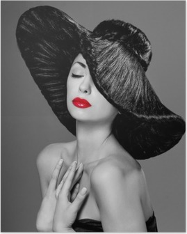 Póster Magnífica mujer con un sombrero