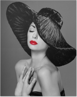 magnificent woman in a hat Poster