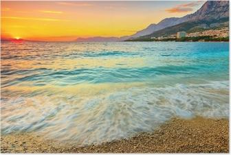 Poster Magnifique coucher de soleil sur la mer, Makarska, Croatie