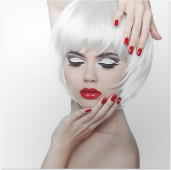 Poster Make-up en kapsel. Rode lippen en gemanicuurde nagels. Fashion Beau