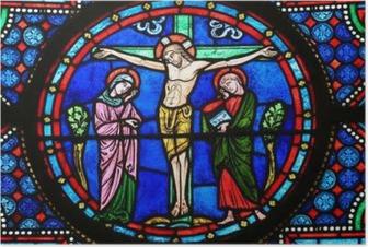 Poster Målat glass - Jesus på korset