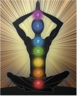 Man silhouette in yoga position Poster