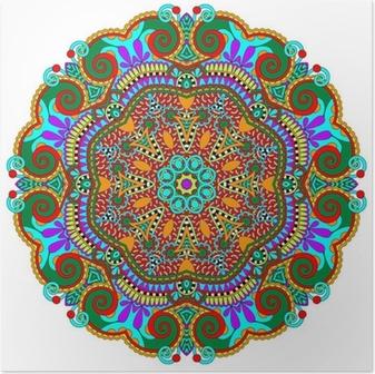 mandala, circle decorative spiritual indian symbol of lotus Poster