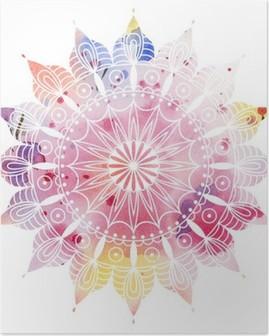Poster Mandala kleurrijke aquarel. Mooie ronde patroon. Gedetailleerde abstracte patroon. Decoratief geïsoleerd.