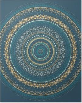 Poster Mandala. Motif décoratif indien.