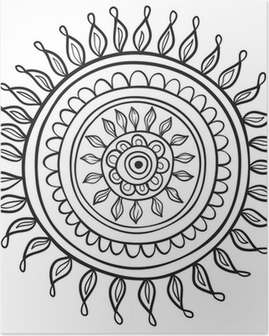 Mandala pattern black and white isolated in vector Poster