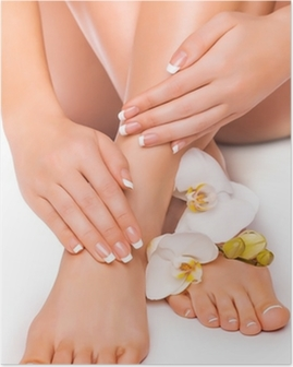 manicure and pedicure with white orchid. isolated Poster