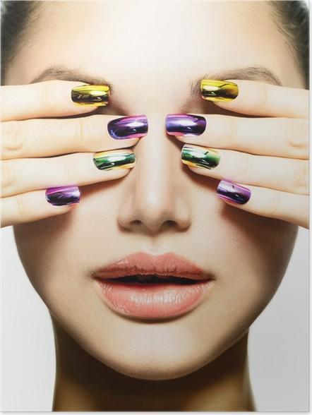 Poster Manicure En Make Up Nail Art Schoonheid Vrouw Met