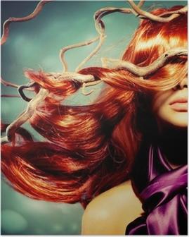 Poster Mannequin Portrait de femme avec de longs cheveux rouges bouclés
