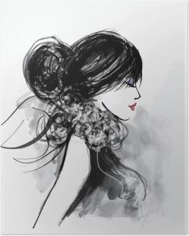 Poster Mannequin vrouw met een sjaal