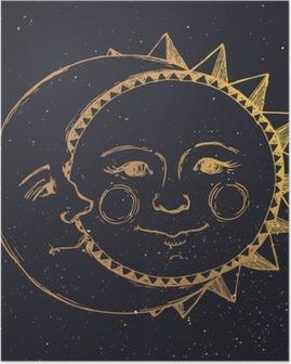 Póster Mano sol dibujado con la luna