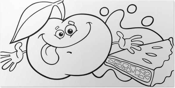 Póster Manzana y pastel para colorear de dibujos animados • Pixers ...