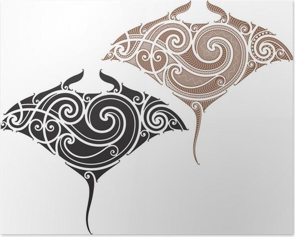 Maori Manta Tattoo Design Poster Pixers We Live To Change