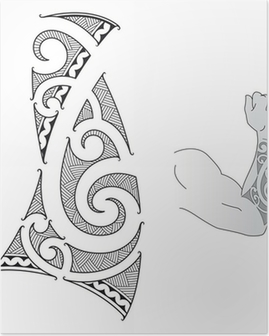 foto de Maori tribal tattoo design Poster • Pixers® - We live to change