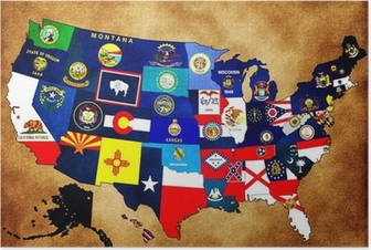 Map Of Us Regions Maps Usa Poster Pixers We Live To Change - Us-map-with-state-flags