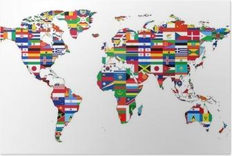 Póster Mapa del mundo con banderas