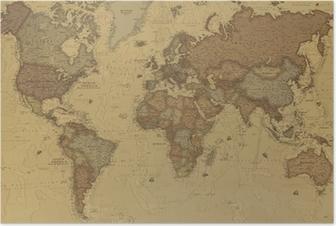 Póster Mapa mundo antiguo